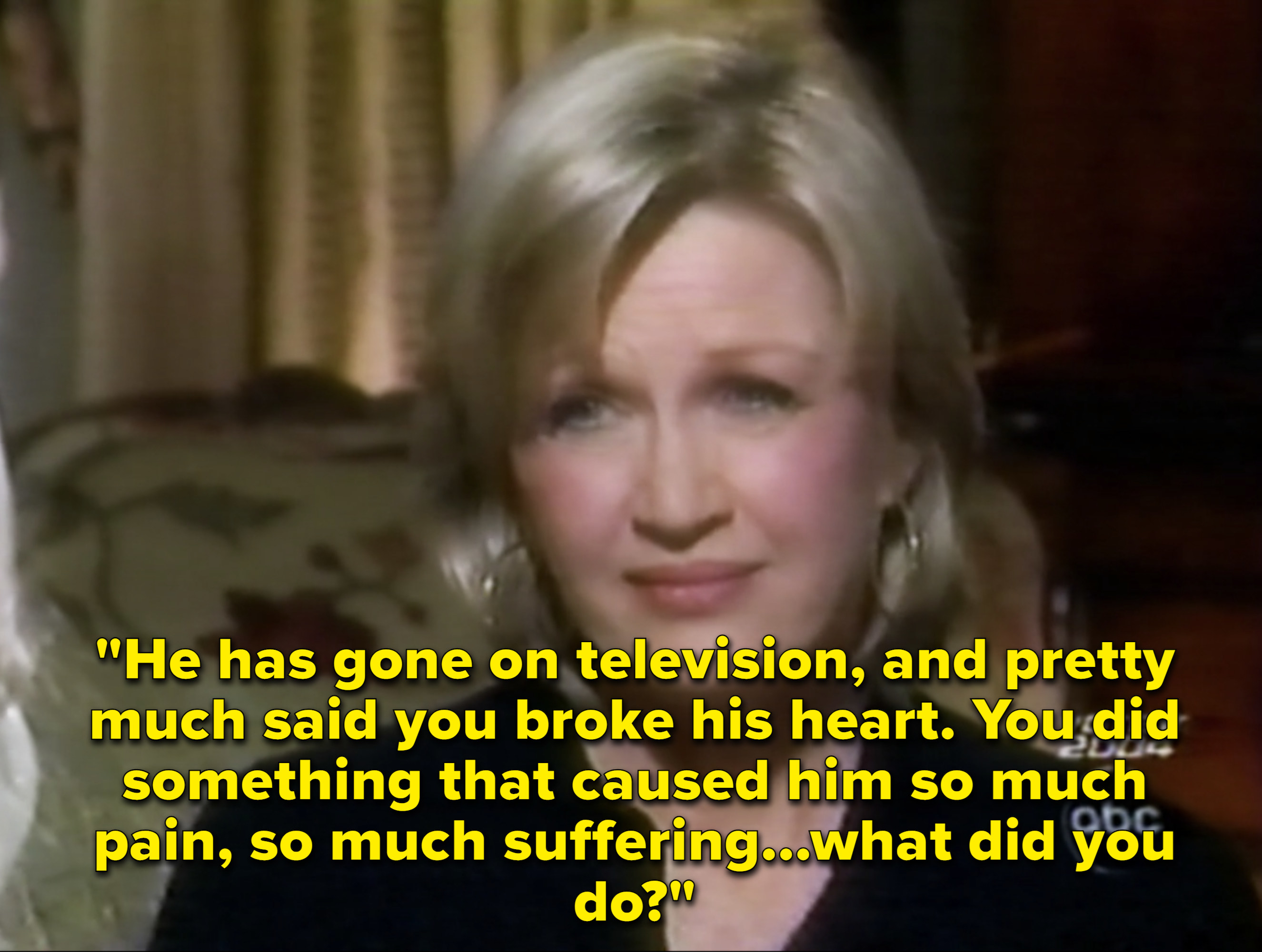 """Diane Sawyer explaining that Justin is claiming Britney did something unforgivable, and asking, """"what did you do."""""""