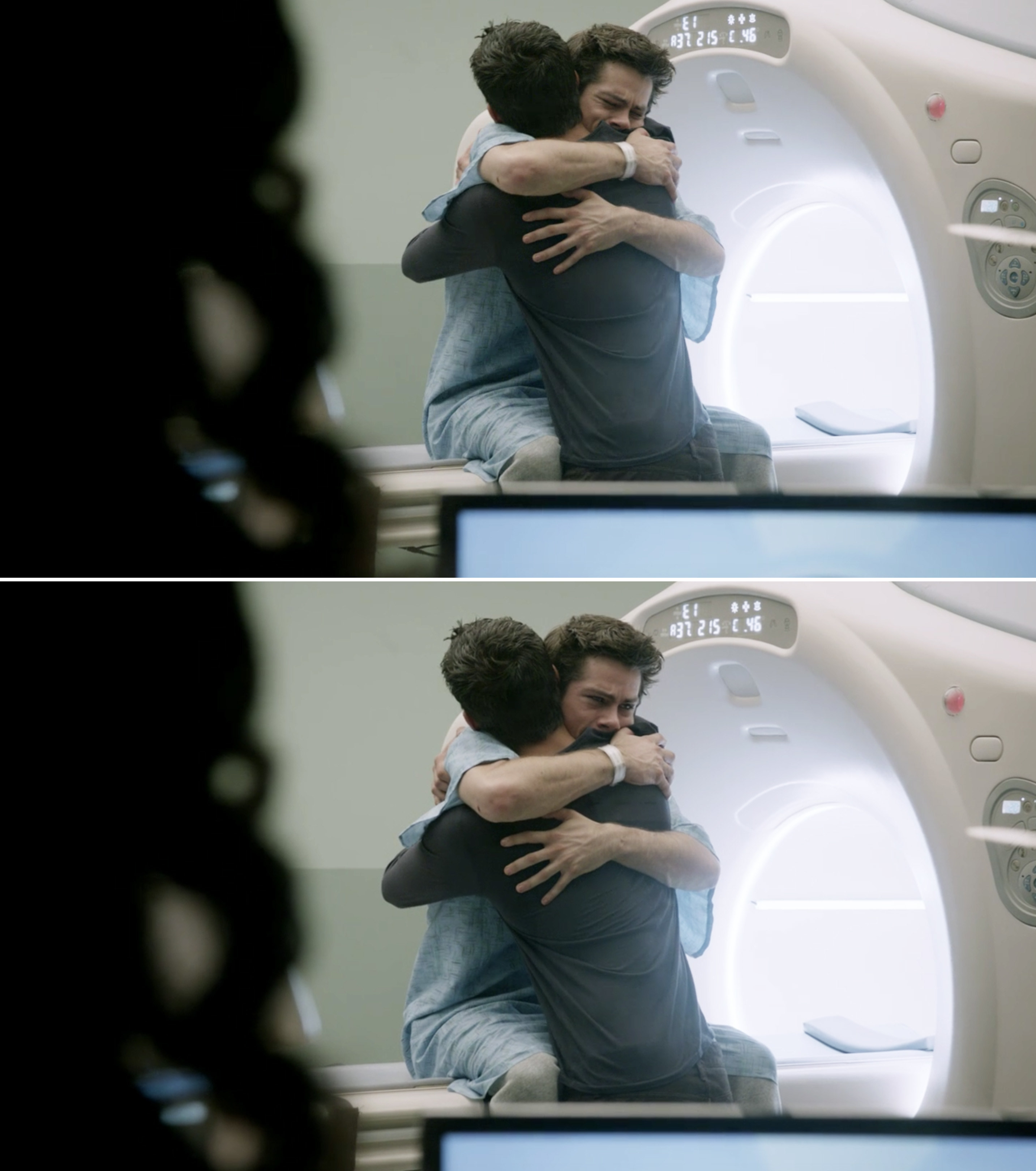 Stiles weeping and hugging Scott before his CT scan