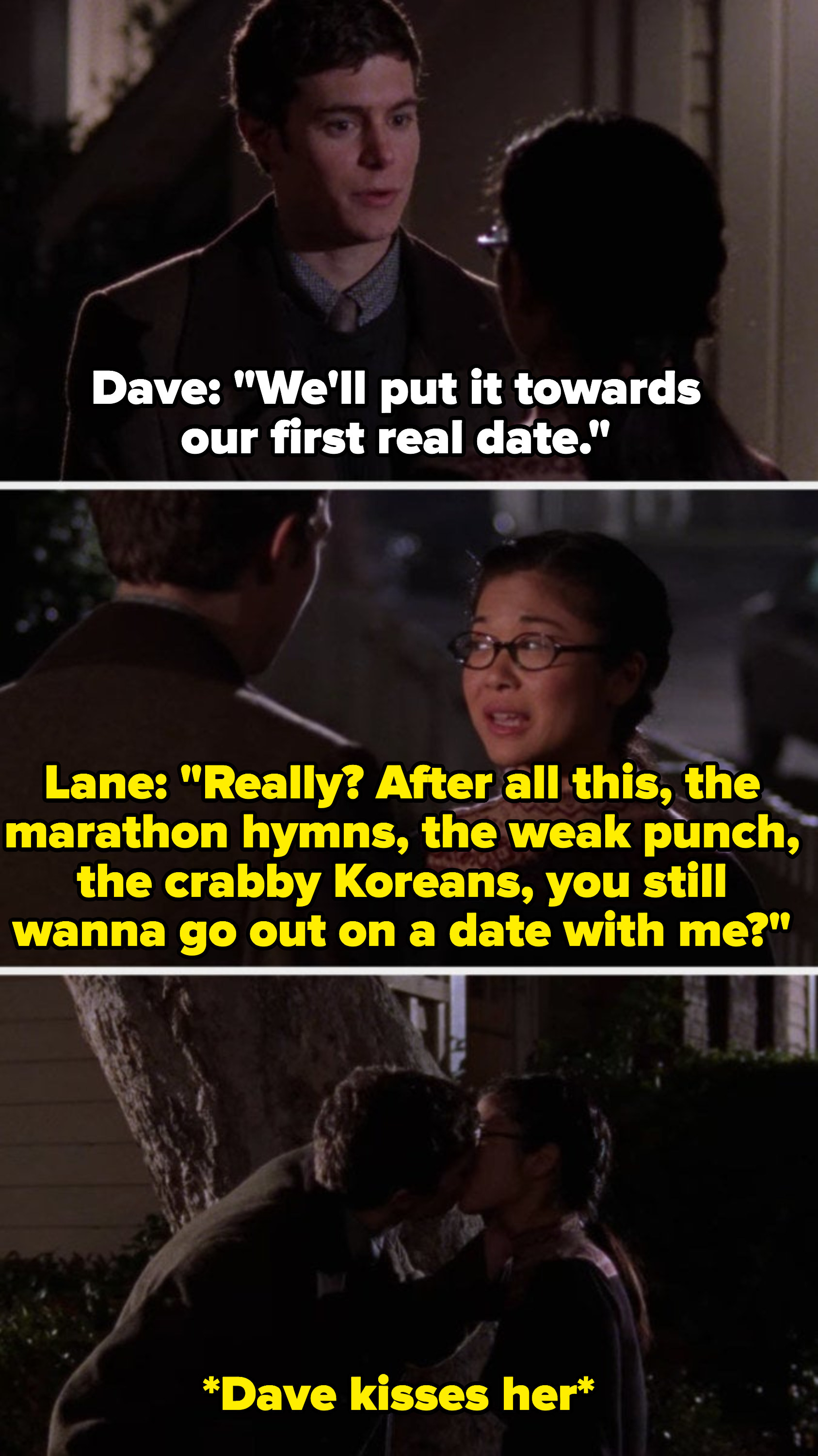 Dave and Lane kiss for the first time