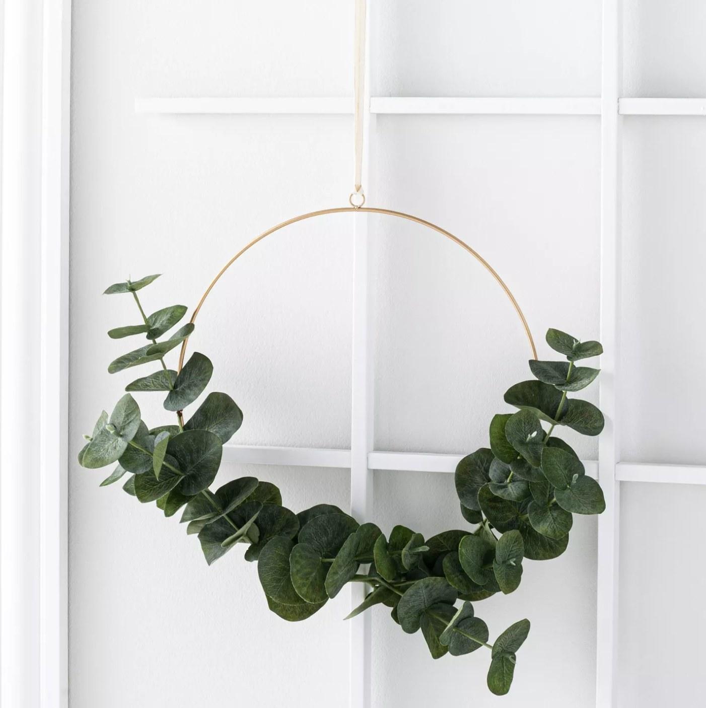 The eucalyptus wreath on a door