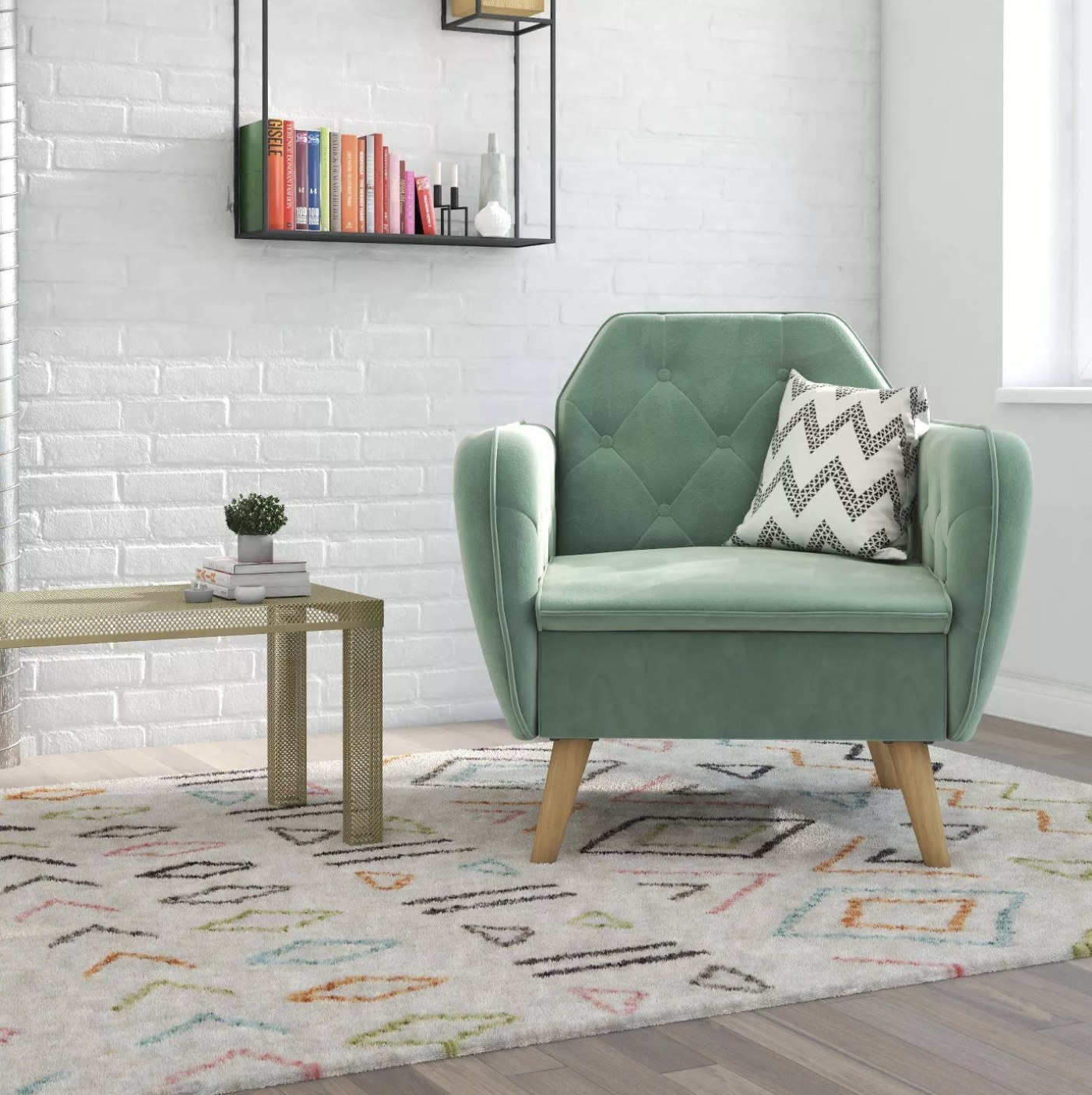 A pale green accent chair