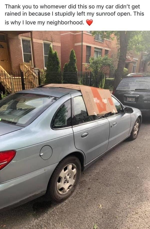 facebook post of someone who put cardboard over an open window so rain wouldn't get in