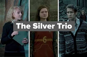 """Luna Lovegood, Ginny Weasley, and Neville Longbottom with text, """"The Silver Trio"""""""