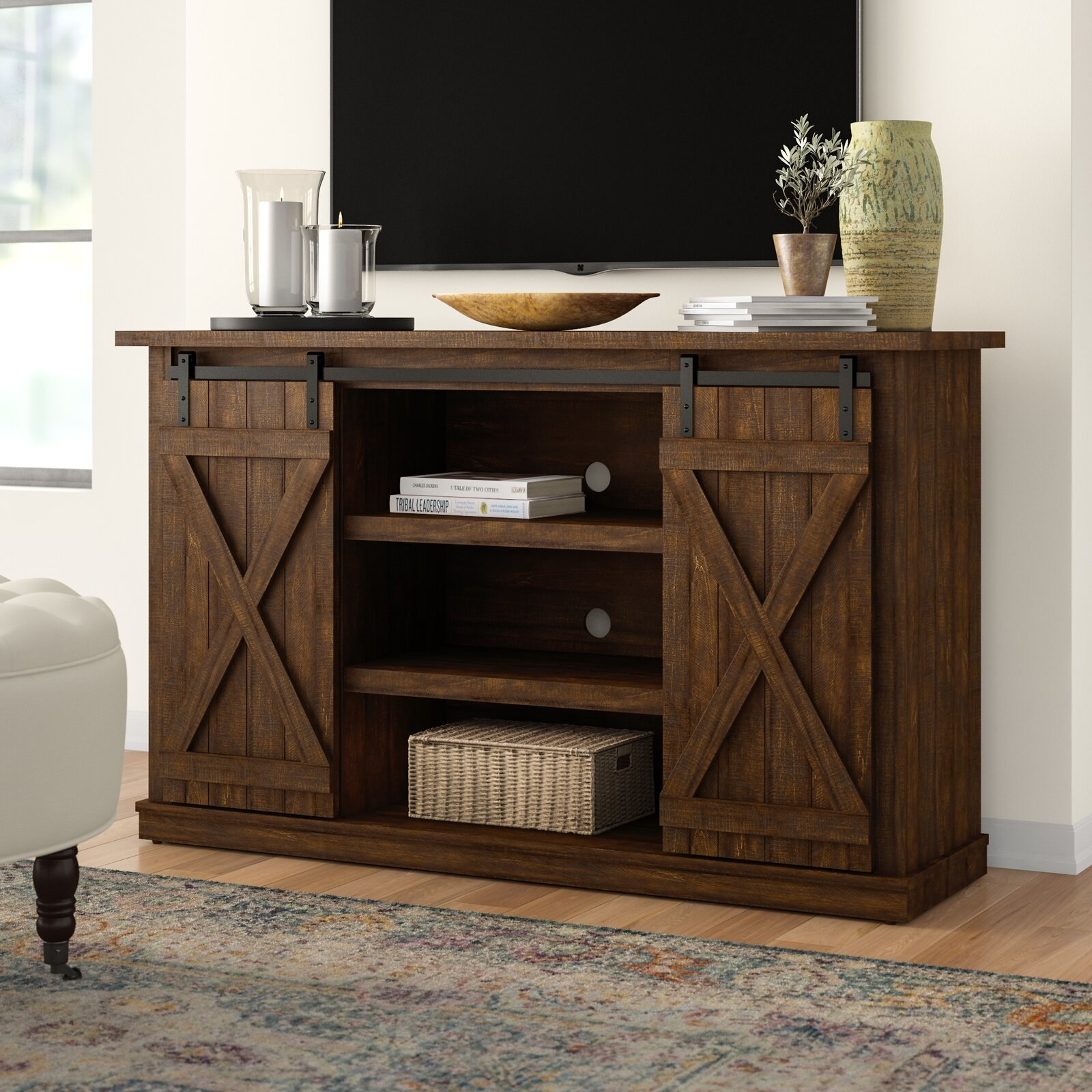 brown wooden tv stand with sliding barn doors