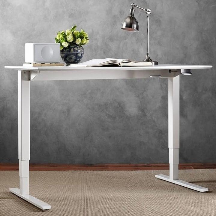 white adjustable desk