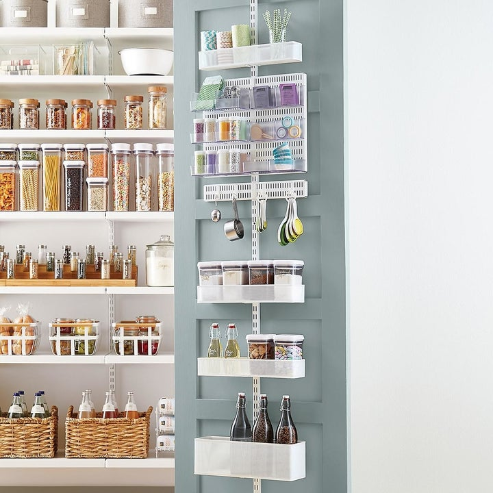wire over-the-door pantry rack with eight levels of storage