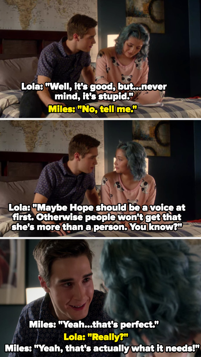 Lola helps Miles write his play