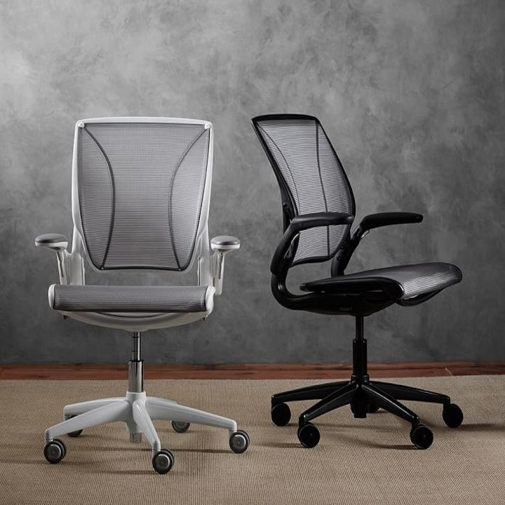 grey and black office chairs with wheels