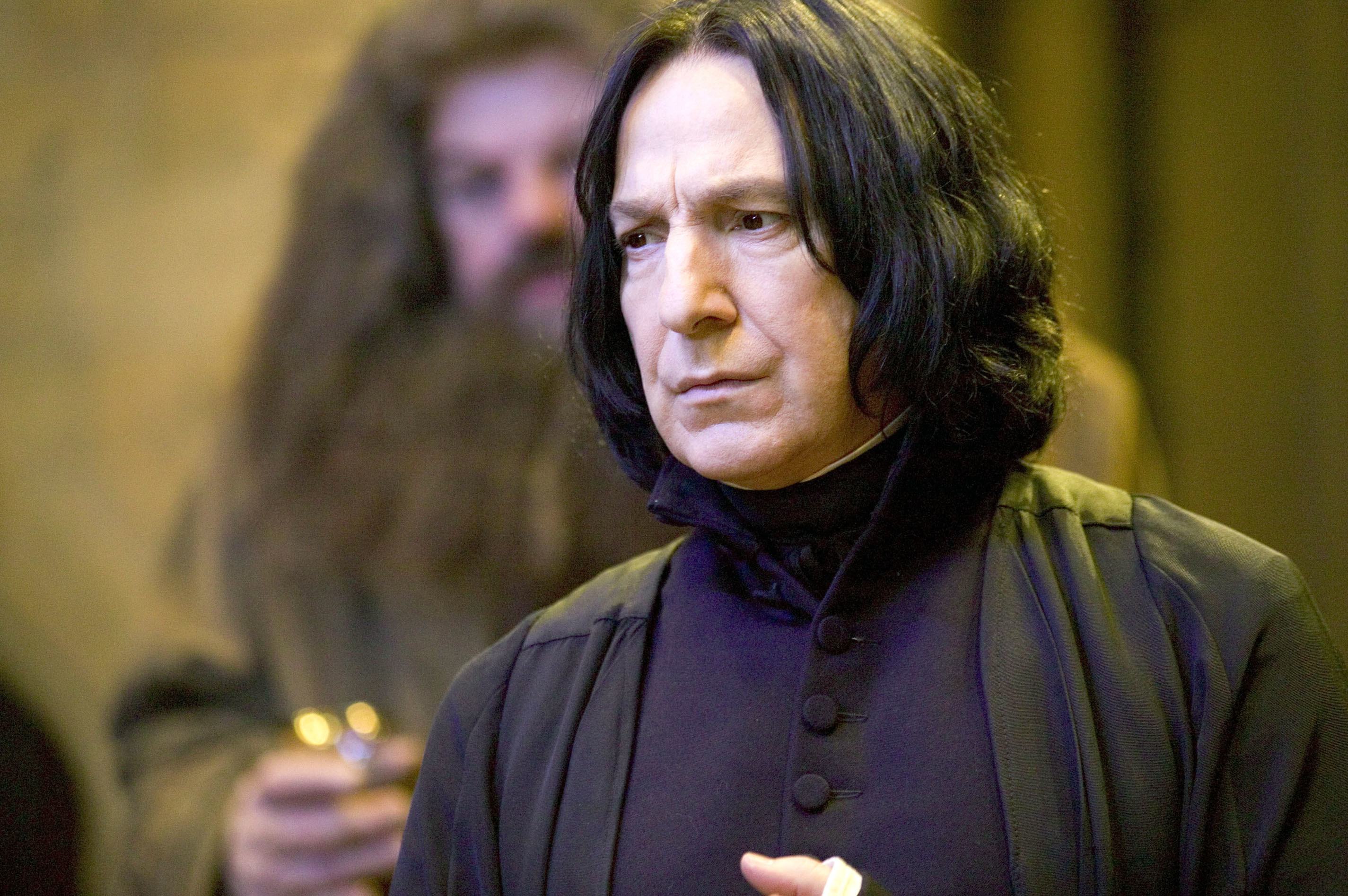 Severus snape looking serious in the movie for harry potter