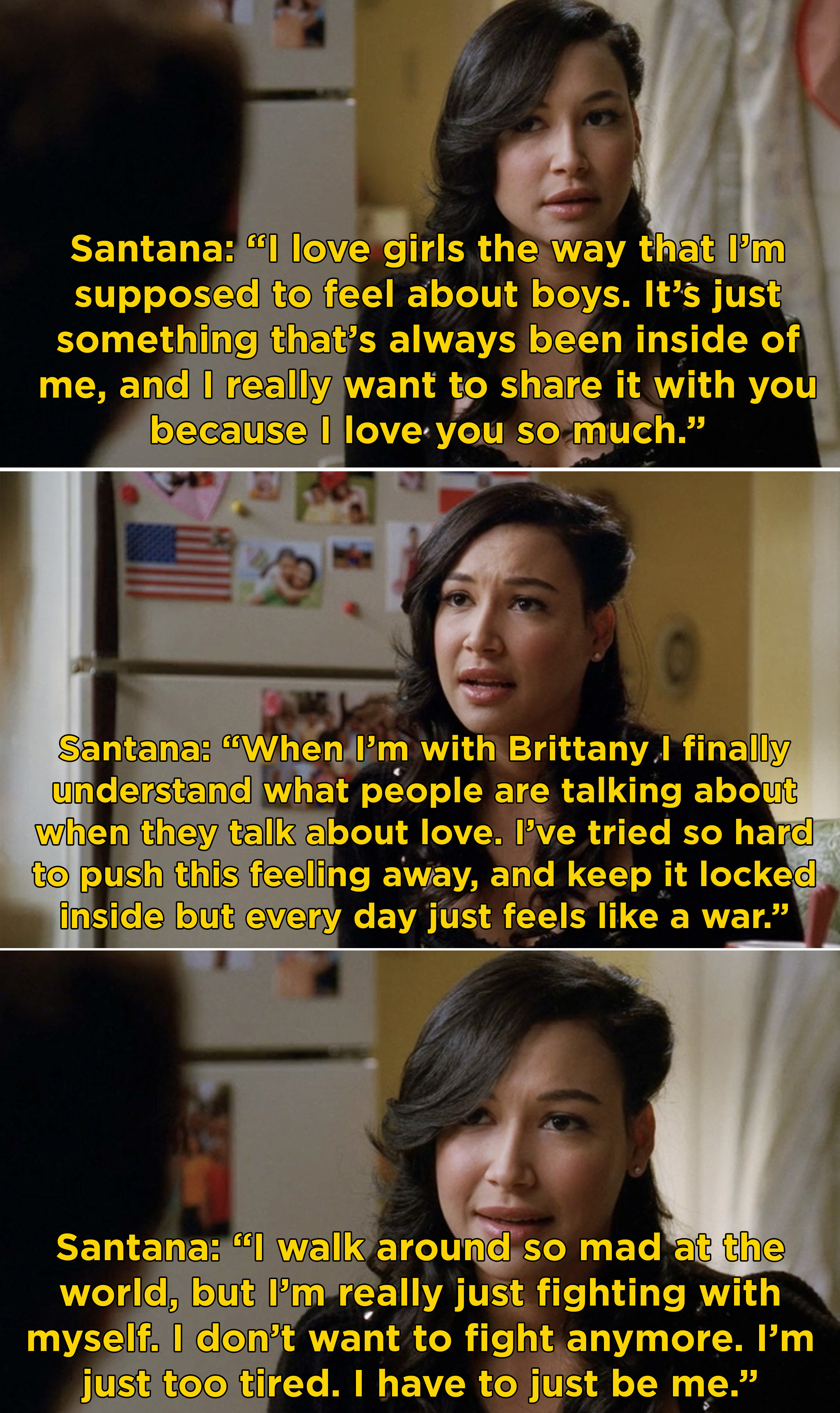 "Santana coming out to her grandmother and saying that she loves Brittany and just want to ""be me"" from now on"