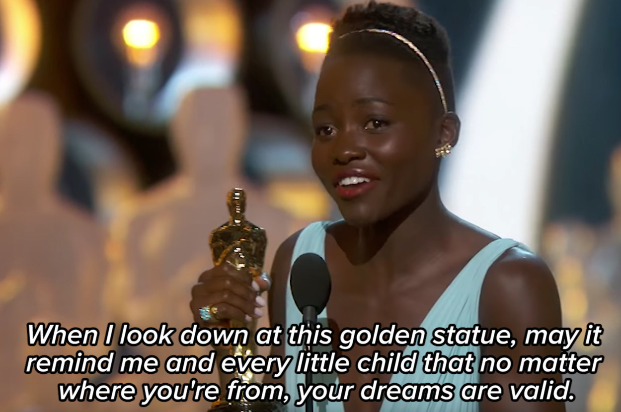 Lupita Nyong'o giving her Oscar acceptance speech, saying: