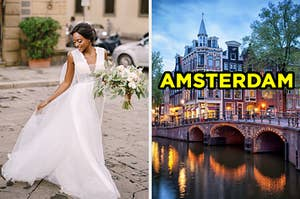 """On the left, a bride wearing a flowing dress and carrying a bouquet as she walks down a cobblestone street, and on the right, canals at sunset labeled """"Amsterdam"""""""