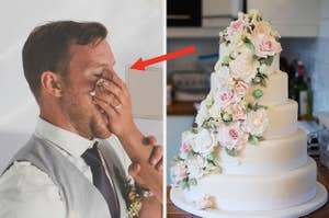 A groom getting smashed in the face with cake next to a perfectly undisturbed wedding cake