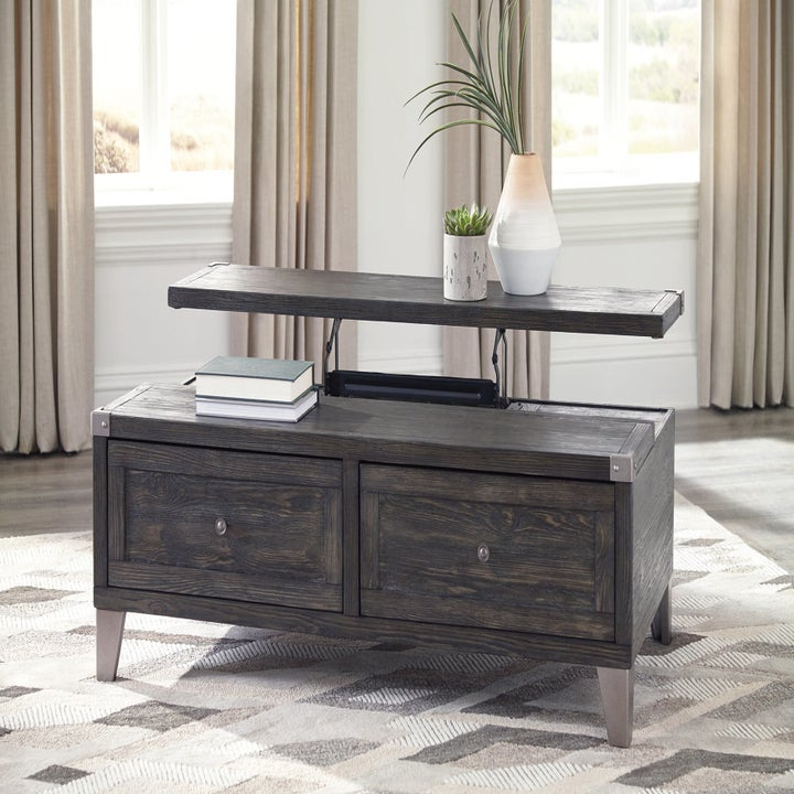 lift-top coffee table with two drawers in the front in dark grey