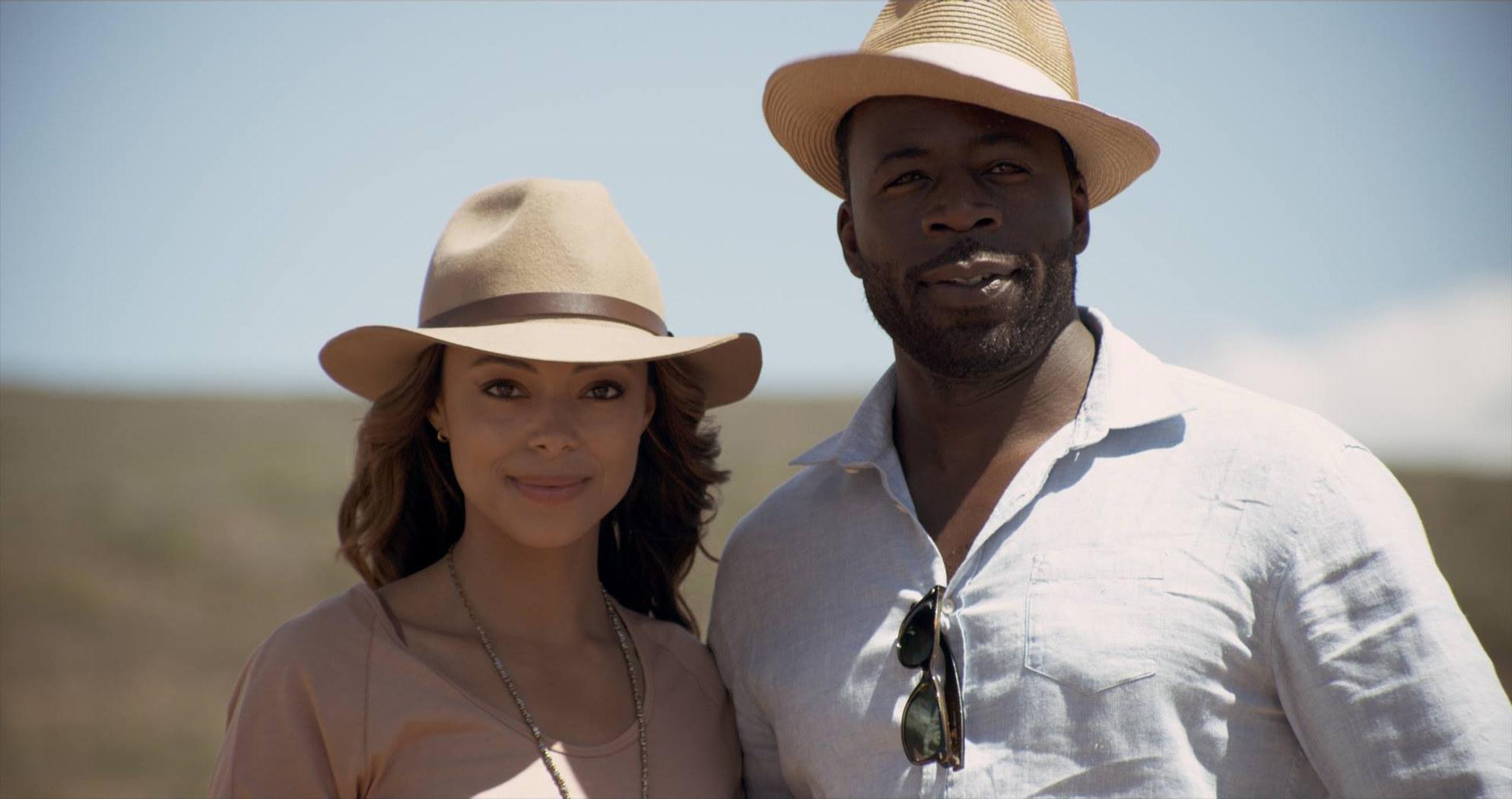 "Amber Stevens West and Demetrius Grosse in ""Love Jacked"""