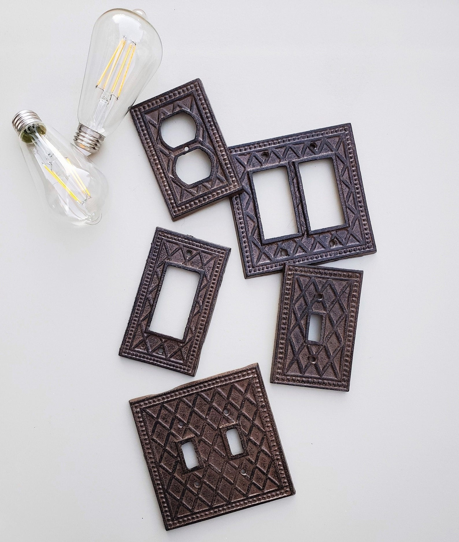 five shabby chic switch plates