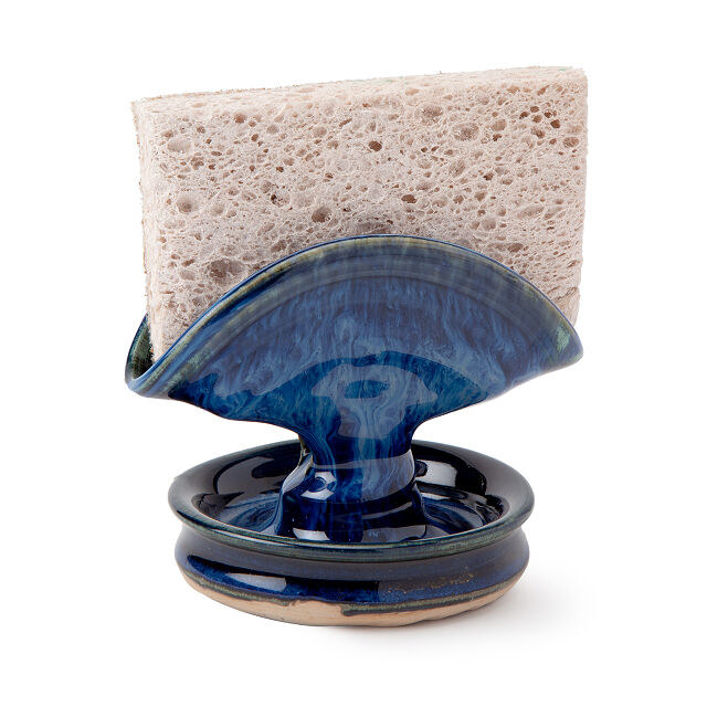 The blue stoneware sponge holder