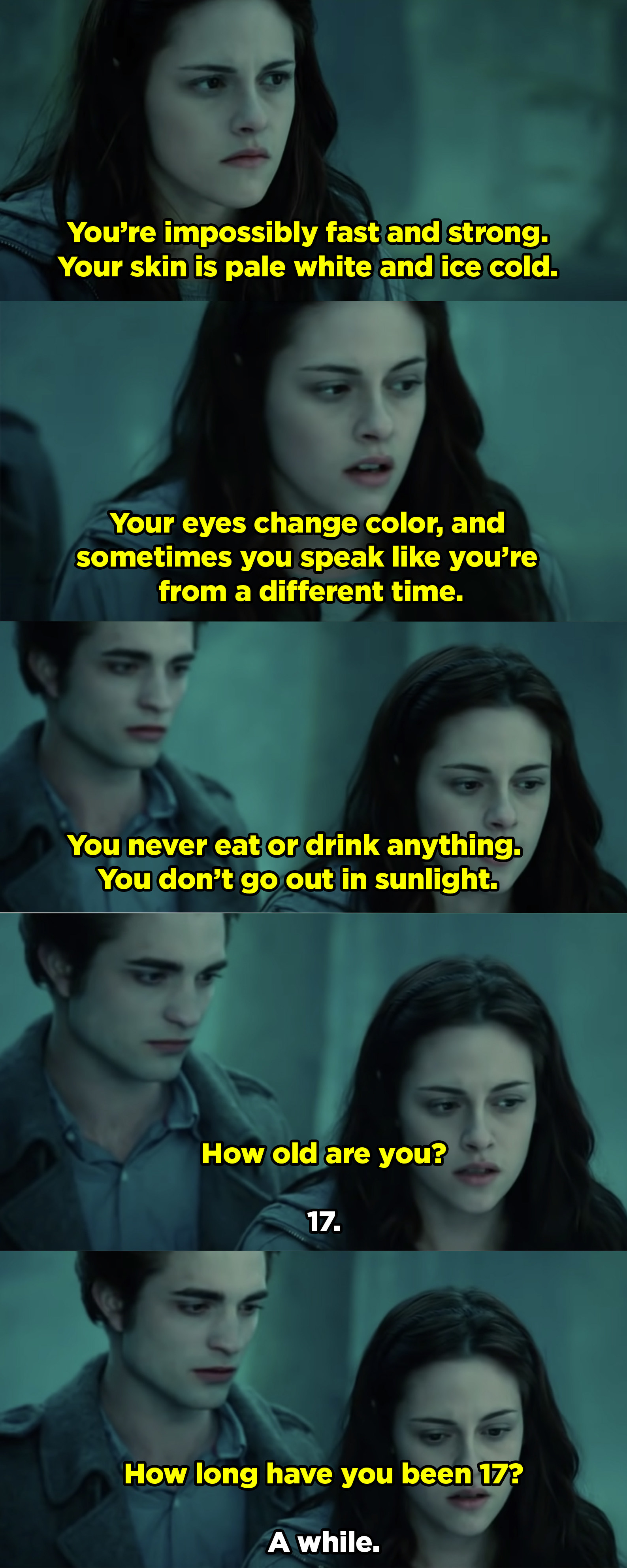 Bella describing how Edward is pale, fast, and never goes out into sunlight — insinuating that he's a vampire.