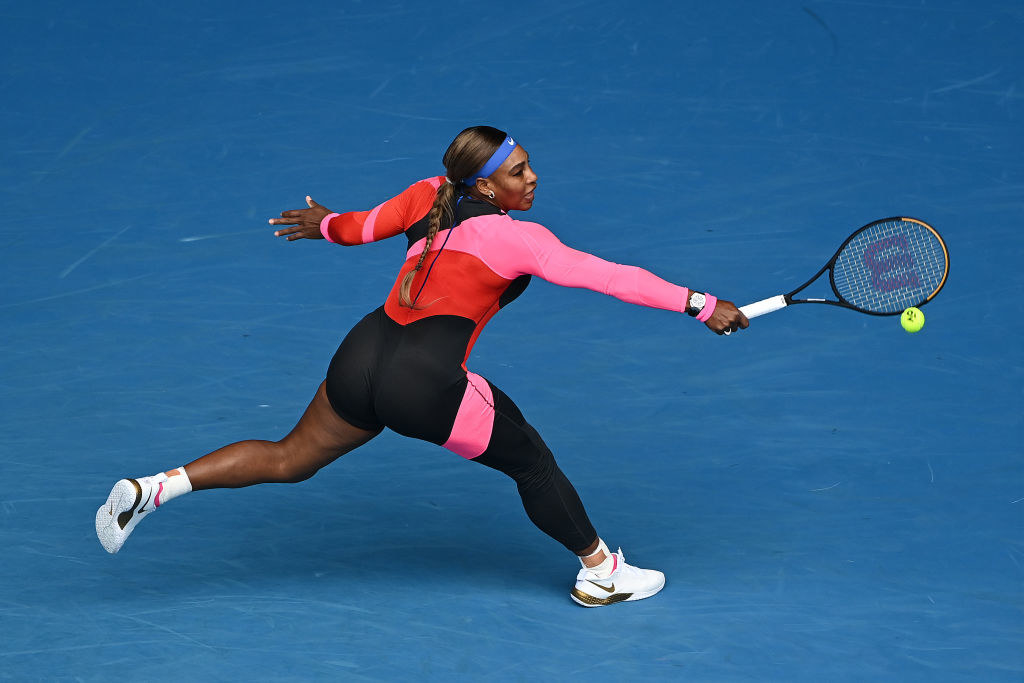 Serena Williams wearing a catsuit while competing at the Australian Open