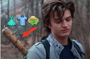 """Steve from """"Stranger Things"""" is looking down with a bat in his pack and clothing emojis beside him"""