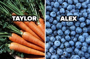 taylor label on carrots, alex label on bluberries