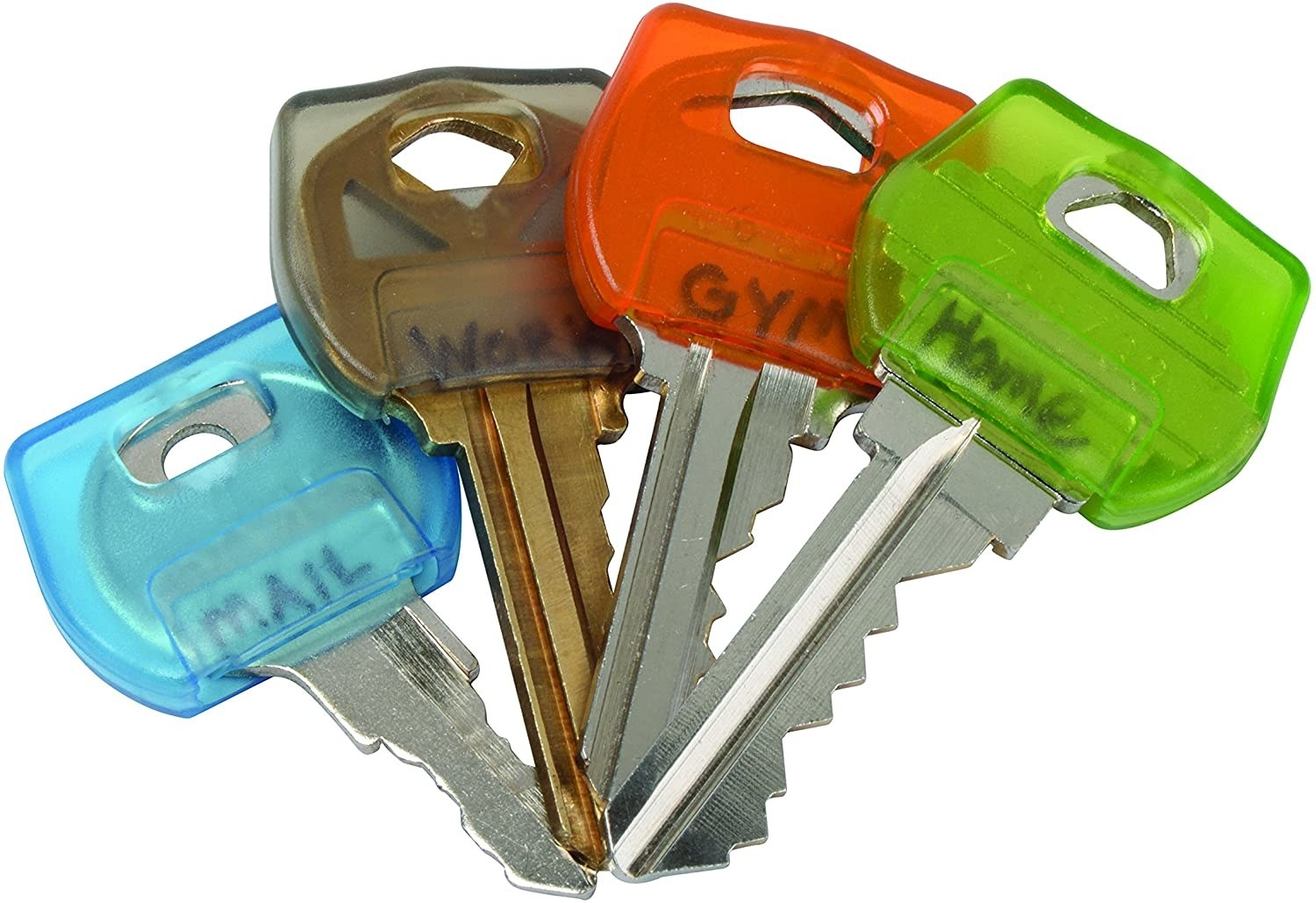 Four keys with plastic covers in different colours