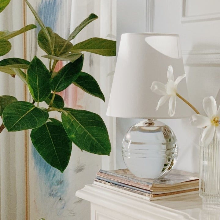 clear bottom lamp with white shade