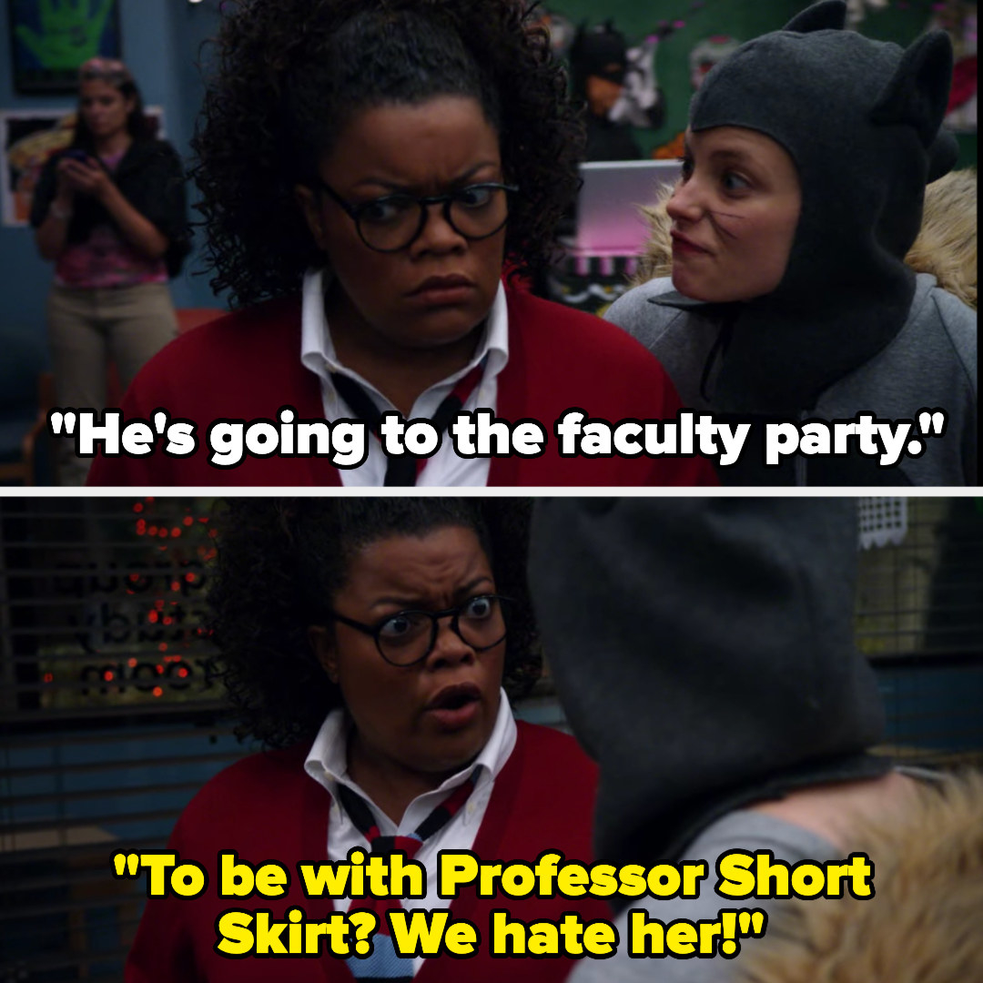 """Britta tells Shirley Jeff is going to a faculty party, and Shirley says, """"To be with Professor Short Skirt? We hate her!"""""""
