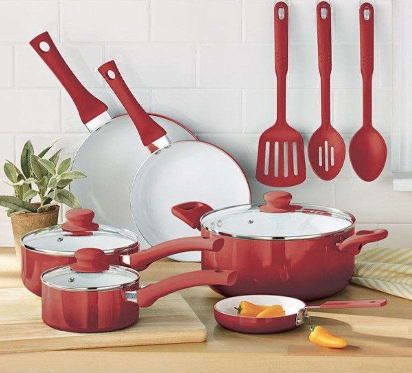 the cookware set in red