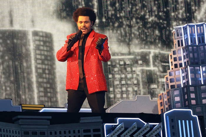 The Weeknd performs during the Pepsi Super Bowl LV Halftime Show at Raymond James Stadium