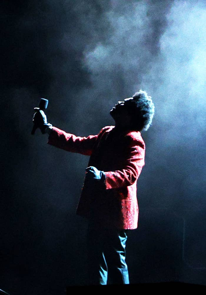 The Weeknd performs during the Pepsi Super Bowl LV Halftime Show at Raymond James Stadium on February 07, 2021 in Tampa, Florida