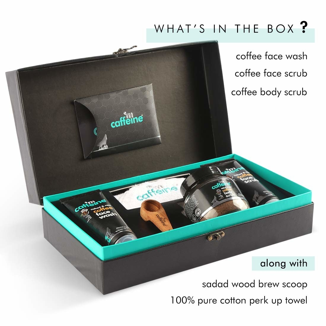 A box of coffee-scented shower products