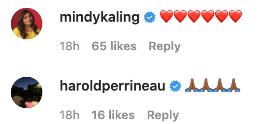 Mindy Kaling and Harold Perrineau's comments on Jessica Alba's Instagram