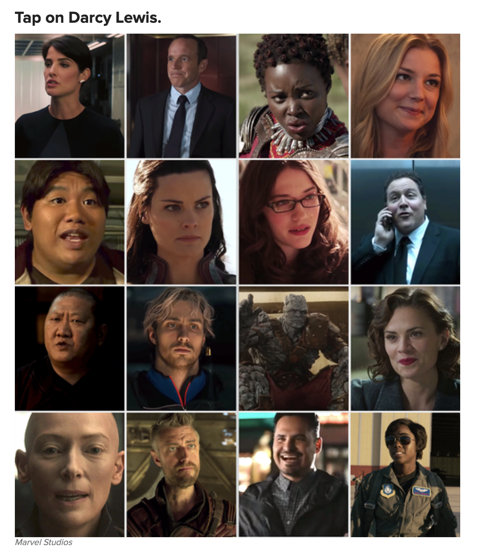 A grid of minor marvel characters