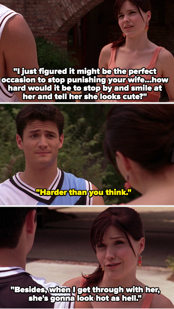 """Brooke tries to get Nathan to stop by a party and say hi to Haley, which Nathan says is difficult. Brooke also says Haley is going to look """"hot as hell"""""""