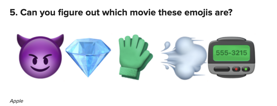 """A devil, diamond, glove, smoke, and pager emoji with the text """"can you figure out which movie these emojis are?"""""""