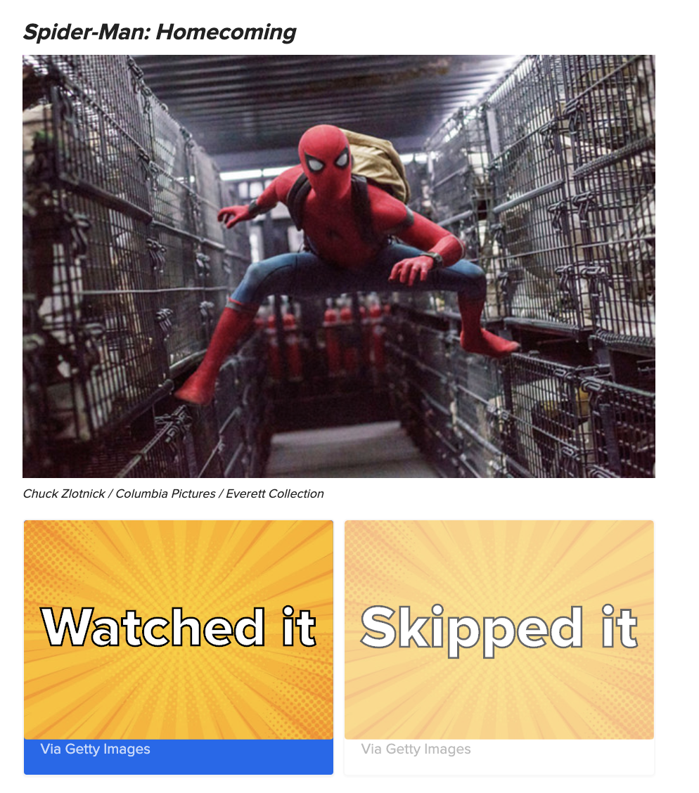 """A scene from Spider-man: Homecoming with the answer options """"watched it"""" and """"Skipped it"""""""
