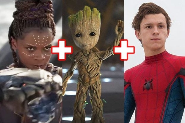 Shuri, Groot, and Spider-Man