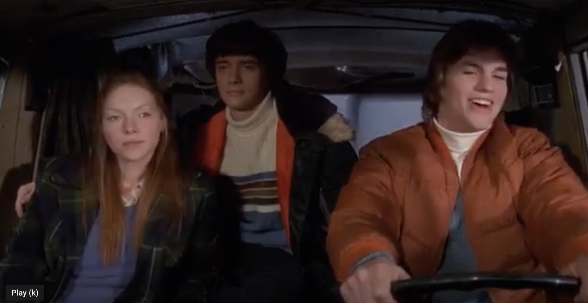 The cast of that 70s show drive a camper through snow