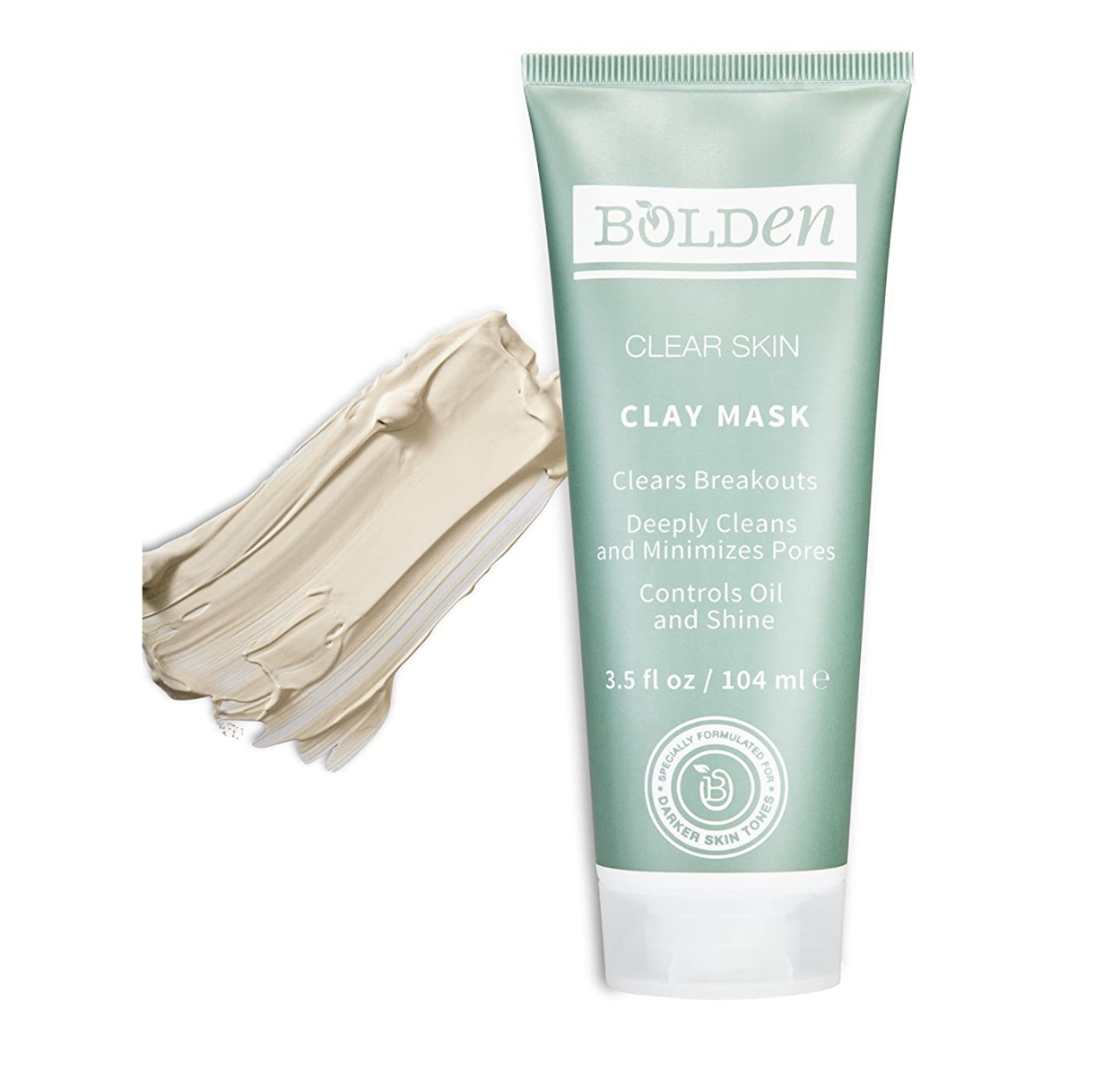 Bottle of Bolden clay mask with swatch of product next to it