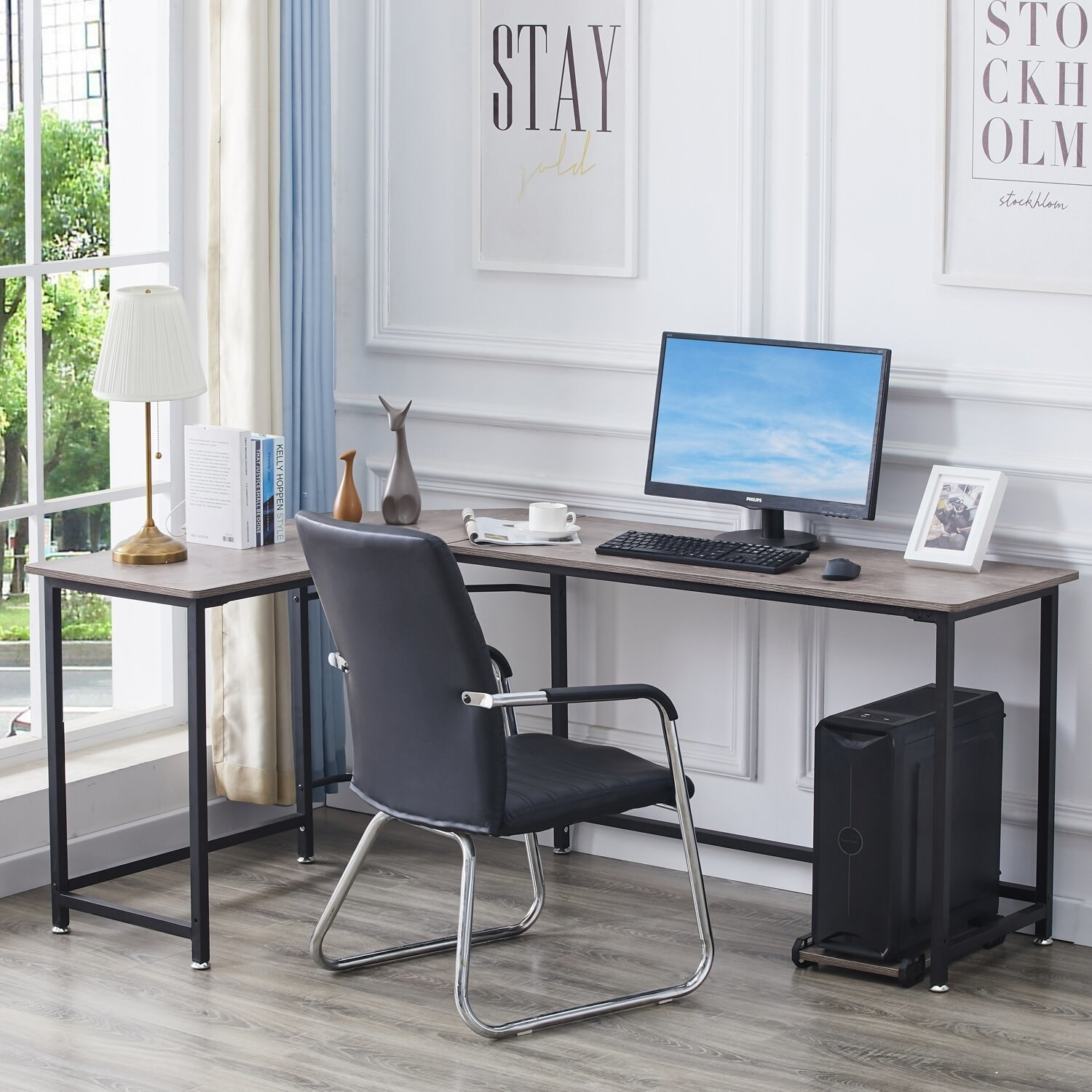 l-shaped desk in the corner of a room
