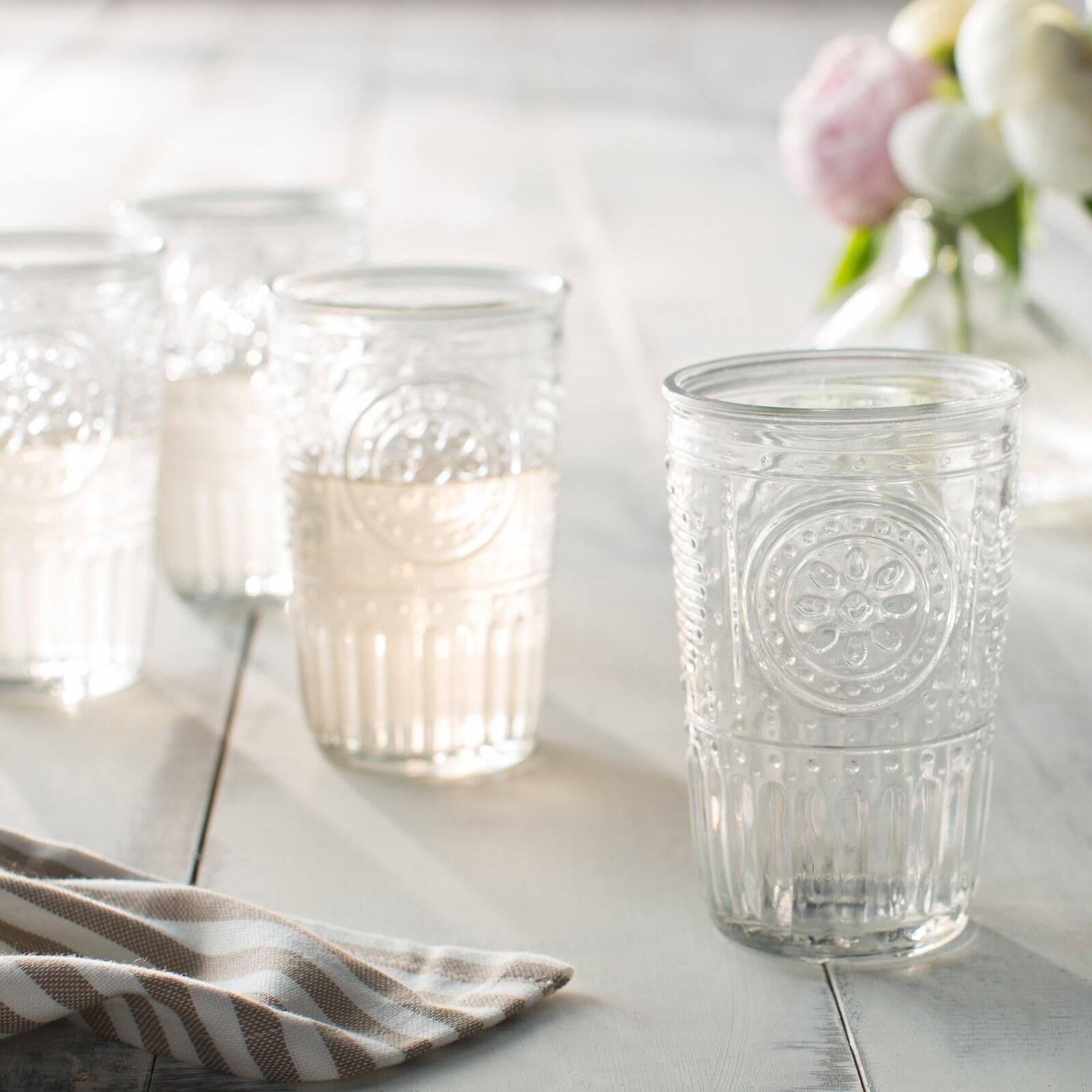 white glass drinking glasses