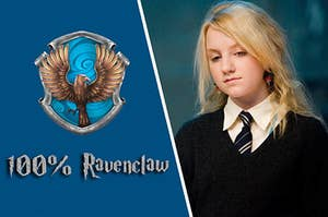 Luna Lovegood next to the Ravenclaw crest