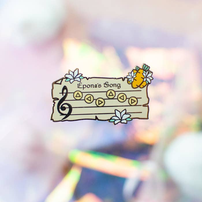 """a pin of a scroll of music for """"epona's song"""""""