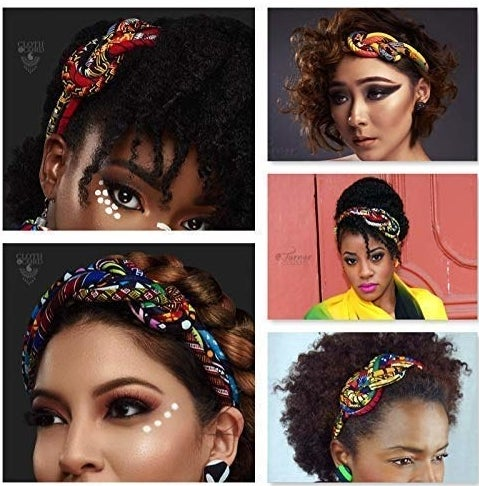 Models with different hairstyles wearing the colorful knotted headband