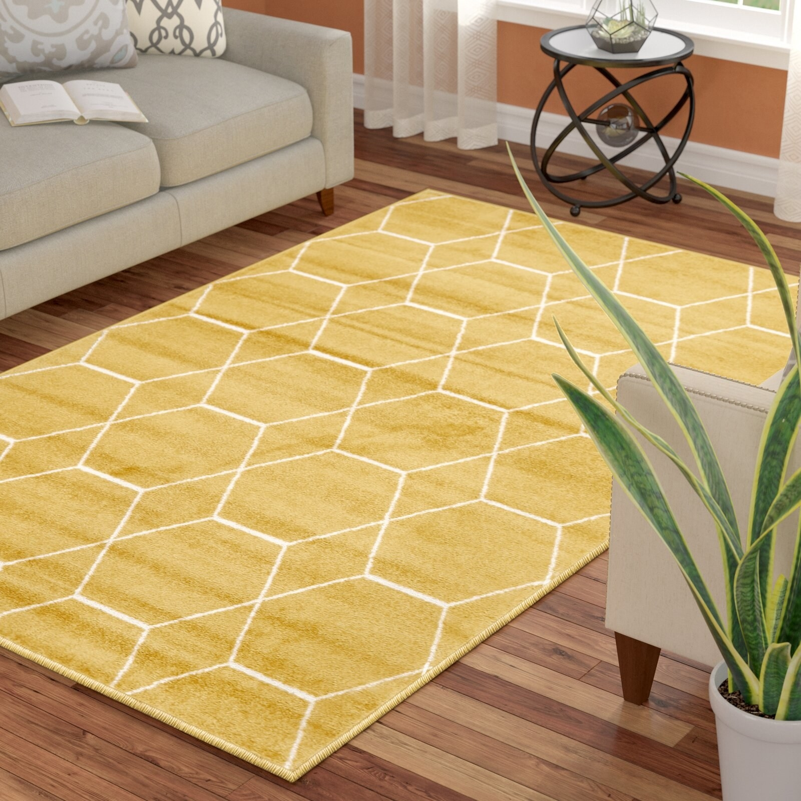 yellow geometric rug in a living room
