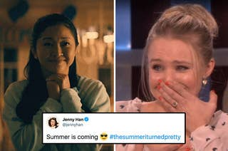 (left) Lana Condor smiles sweetly with her hands clasped under her chin; (right) Kristen Bell holds a hand to her mouth crying happy tears; a tweet by Jenny Han teasing the show is overlad