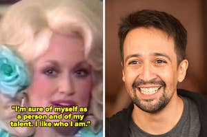 Dolly Parton being interviewed by Barbara Walters in the 1980s; Lin-Manuel Miranda