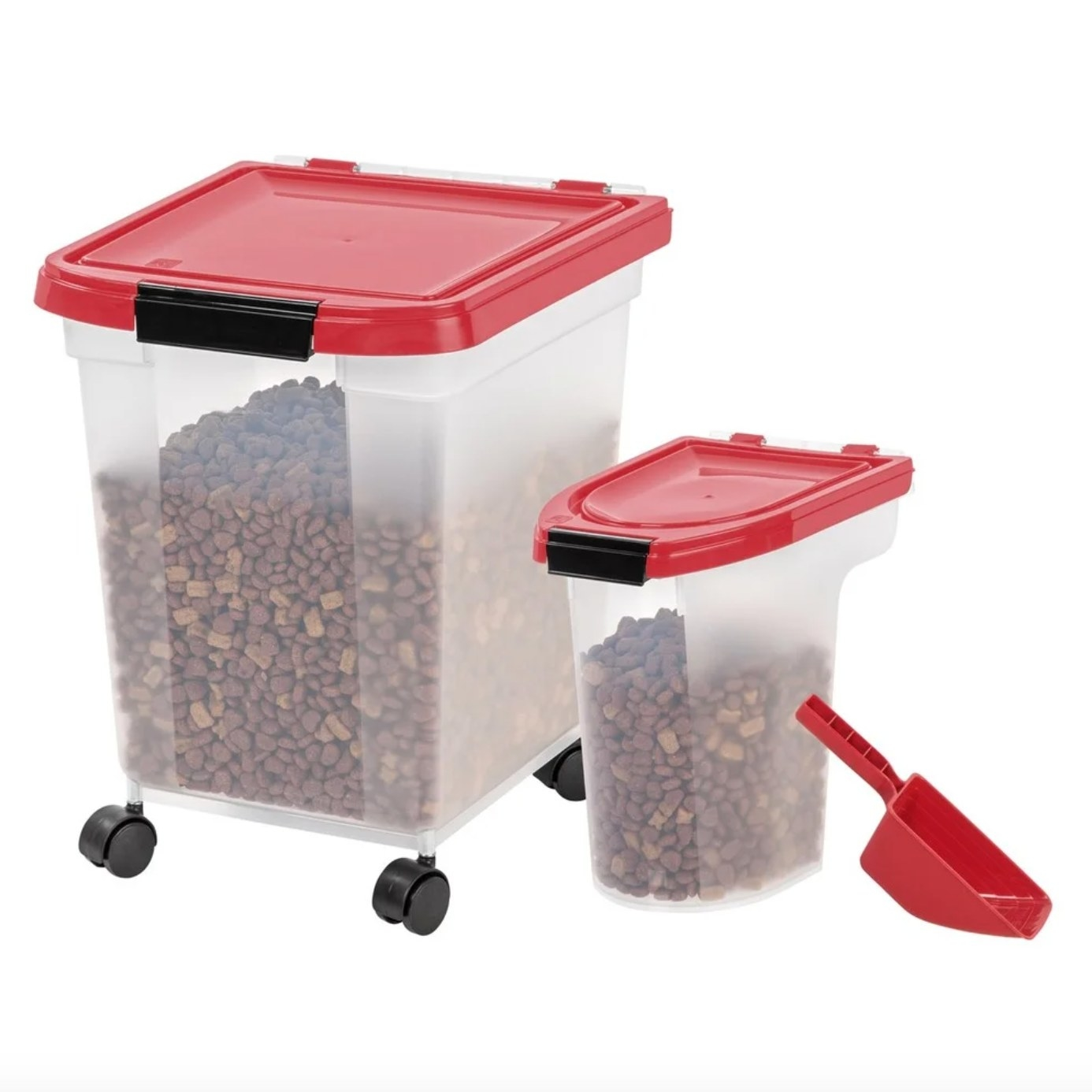 The two storage bins and included scoop, one large and one smaller