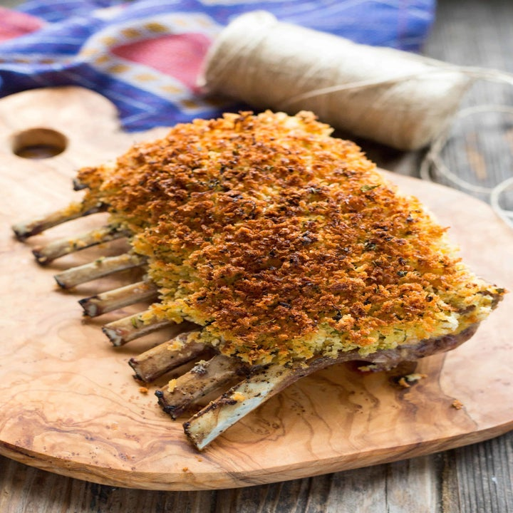 A rack of herb and dijon crusted lamb chops.
